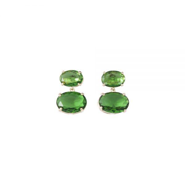 Brinco Cristal Oval Deitado Verde